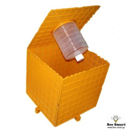 Κουτί μεταφοράς σμηνών με τροφοδότη by www.bee-smart.gr