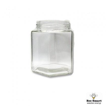 Βάζο γυάλινο 420 ml εξάγωνο Φ70 by www.bee-smart.gr